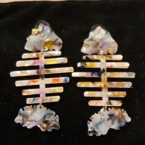Colorful fishbone earrings!